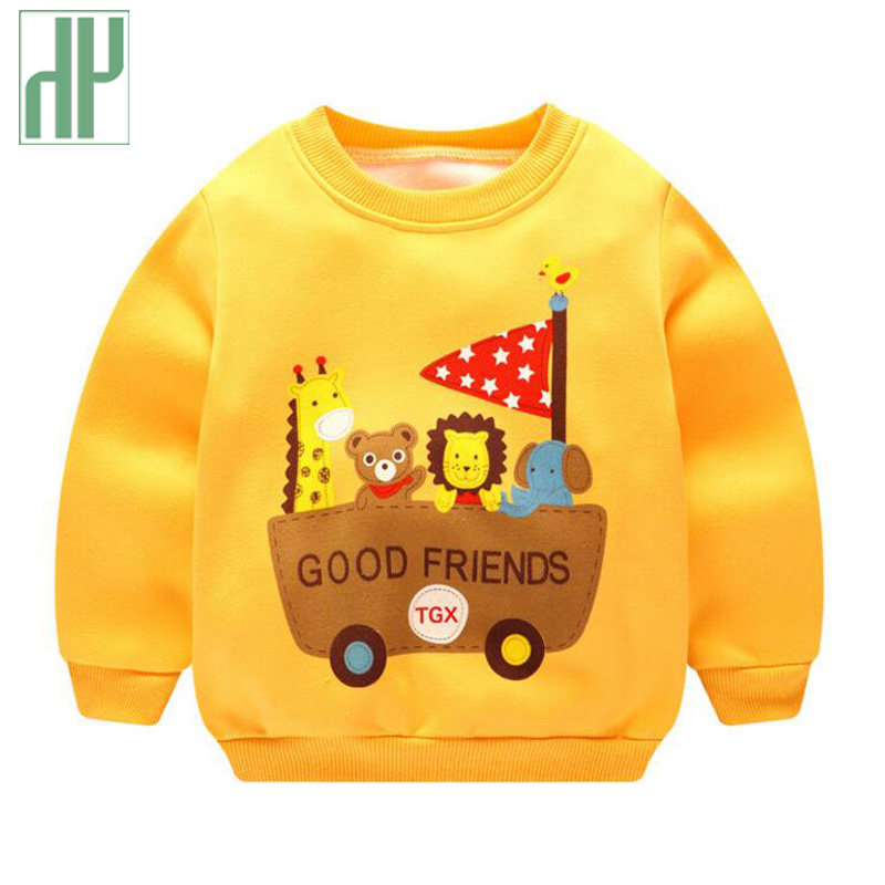 Children sweatshirts for girls Cartoon boys hoodies kids Baby Thick fleece pullover Sweatshirts Outwear Sweater 1 2 4 5 years