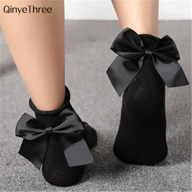 Fashion Girls' Lovely Bow Socks Chic Streetwear Wild Heel With Bow Knot Socks Dropship