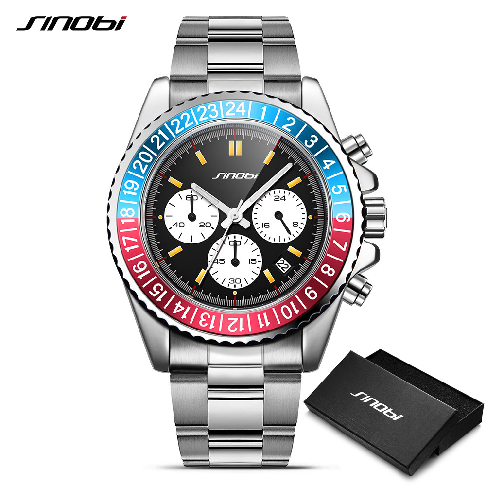 SINOBI Relogio Masculino Mens Watch Rotatable Bezel Full Steel Fashion Business Watch 2018 Chronograph Quartz Watch with box