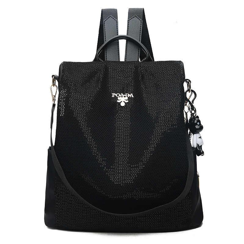 Mochila de lentejuelas para mujer, Mochila de tela Oxford, Bolsas, Mochila femenina para niña, Mochila de viaje, mochilas escolares, Mochila negra