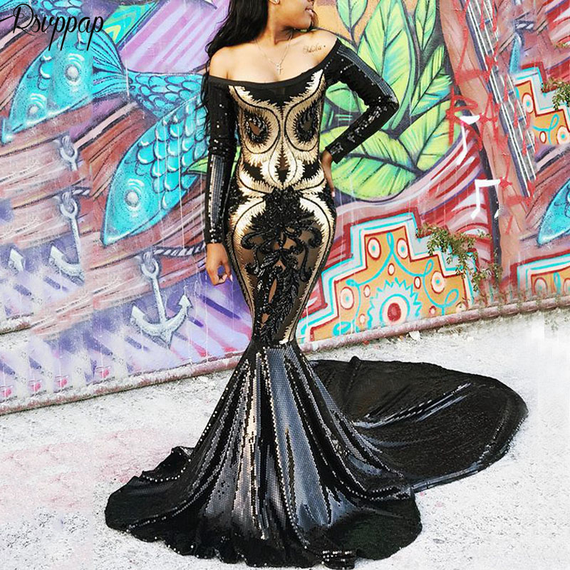 Long Sleeve Sexy Mermaid Boat Neck See Through Gold And Black Sequin African Girl Women Long   Prom     Dresses   2019