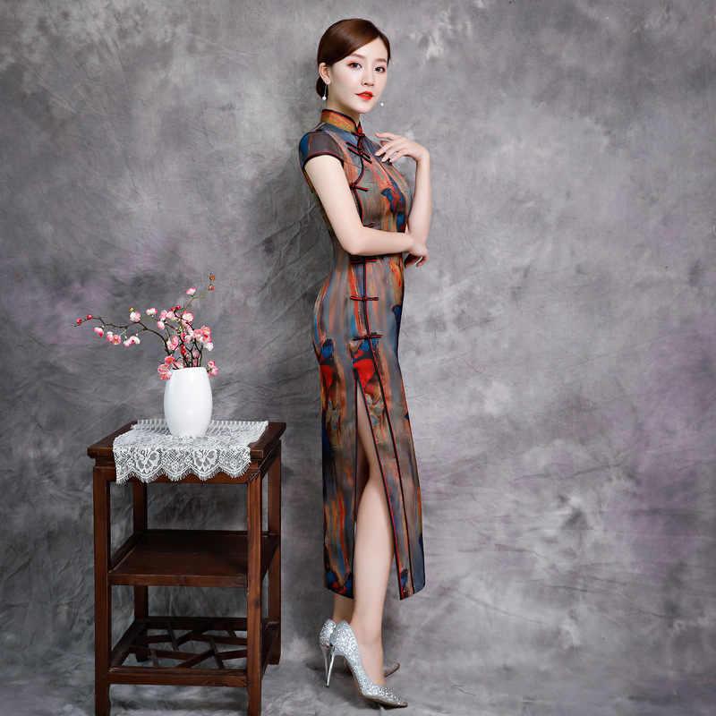 ヴィンテージスリムチャイナドレス繁体字中国語ドレスエレガントな女性レーヨンセクシーな袍ノベルティマンダリンカラーロングチャイナプラスサイズ