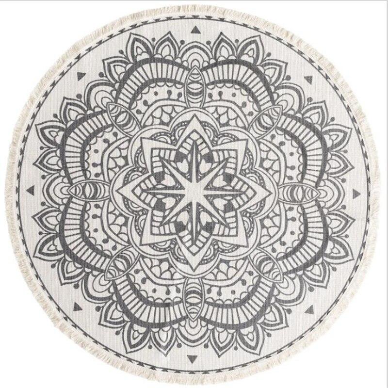 120X120 cm doux tissé à la main tapis ronds pour salon chambre coton tapis maison tapis plancher porte tapis décorer maison zone tapis