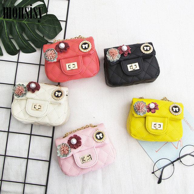 Monsisy Girl Handbag Children Shoulder Bag Fashion Flower Diamond Lattice  Kid Messenger Bag Baby Purse Wallet