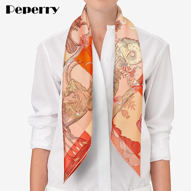 101f45924 16M/M Pure Twill Silk Scarf Women Scarves Square Bandana Luxury Brand  Design Neck Head Scarf Shawl Wrap Handmade Hemming 90*90cm