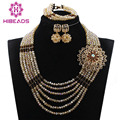 Fashion Gold/Chocolate Brown African Bridal Beads Jewelry Set Lady Gift Bead Necklace Set for Party Free Shipping WE003