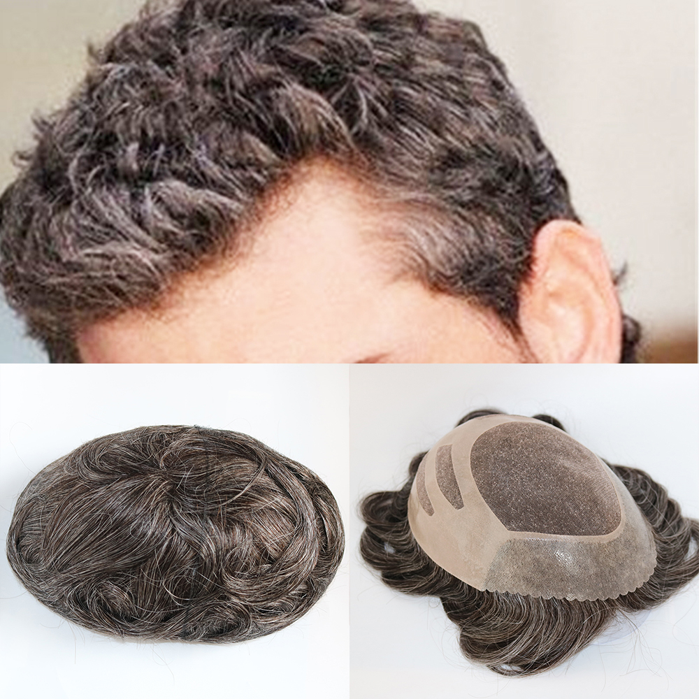 Eversilky New Arrival 100 Real Hair Replacement Short Slight Wave Gray Brown Handsome Human Hair Toupee