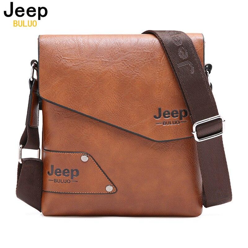 Bolso de cuero Hombre Jeep marca hombro Crossbody bolsos para hombres vaca Split cuero negocio iPad mensajero maletín bolsa de viaje
