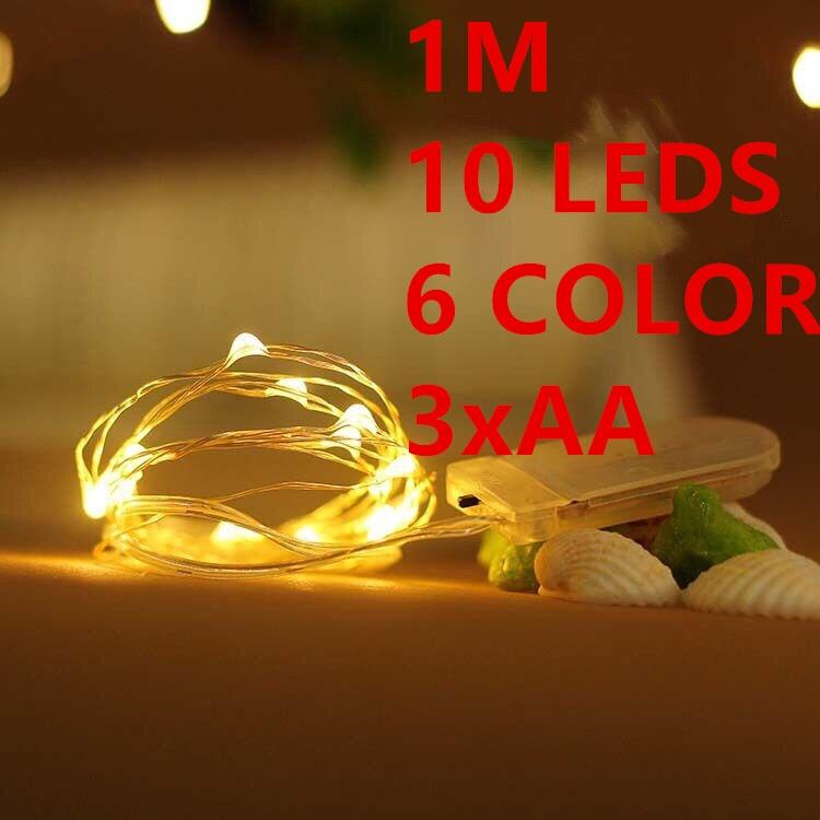 1M 10leds Fairy font b String b font Lights lamp 6color 3AA Operated Mini font b