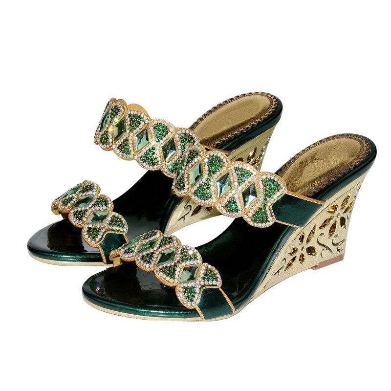 Christia Bella mujer Sexy tacones altos diamantes de imitación sandalias de fiesta Formal boda hebilla zapatos dedo del pie abierto nuevo tacones de cuña zapatillas - 4