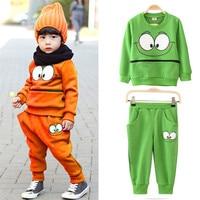 2016 Fashion Cute Baby Kid Boys Girls Smile Face Green Orange Sportswear Suit Tracksuit Tops T