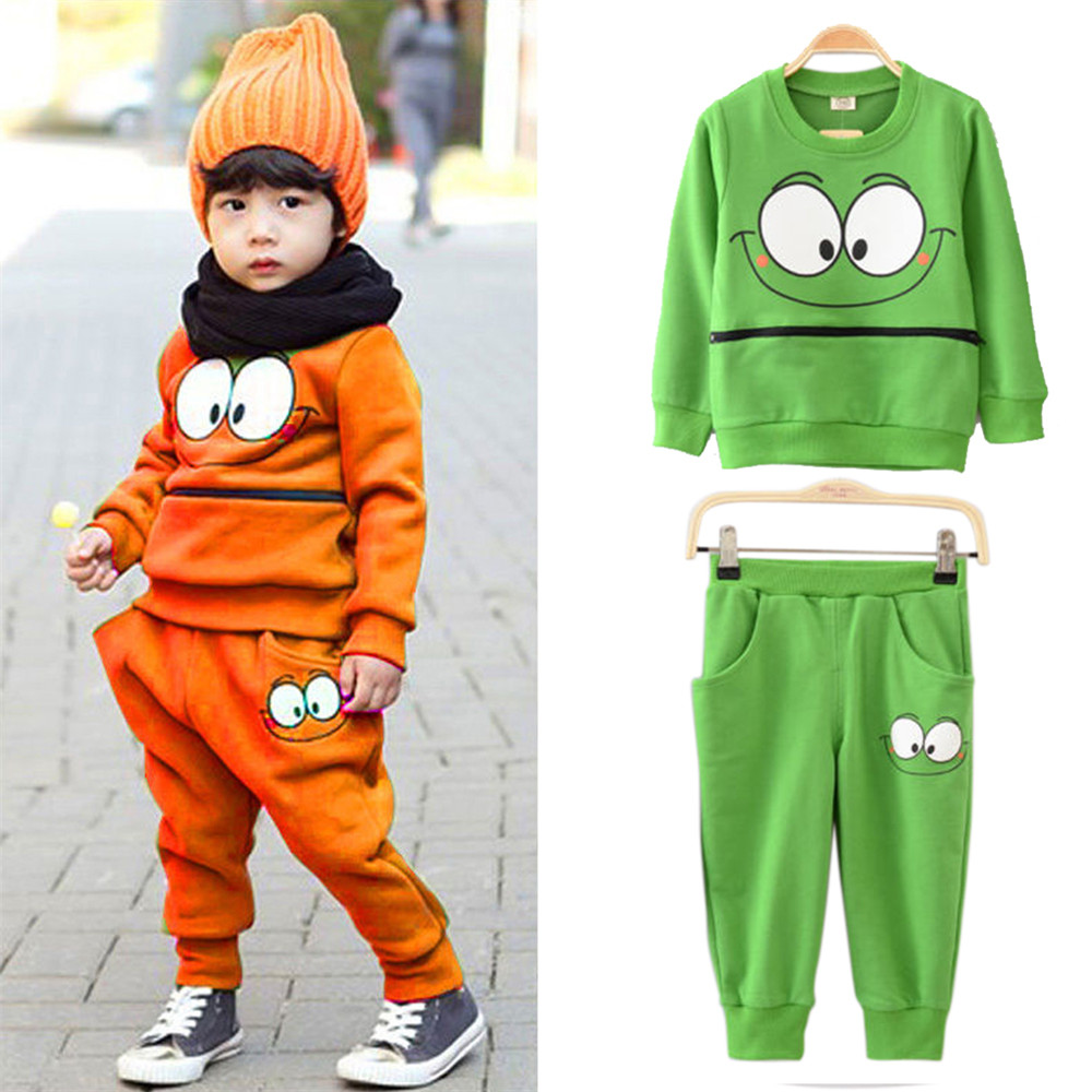 Autumn/winter Baby Kid Boys Girls Zipper Smile Face Green/Orange Sportswear Suit Tracksuit Tops T-Shirt+Harem Pants Outfits 2-7Y 2pcs set autumn cartoon rabbit toddler baby kid girls long sleeve suit t shirt tops pants costume tracksuit outfits 1 5t