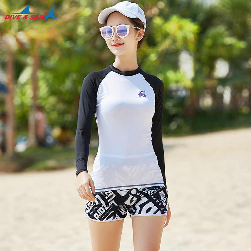 c396b97c81 ... Set of 2 piece Women s Rashguard Long Sleeve Shirt+ Hot Pants UV  Protection Top Sun Protective ...