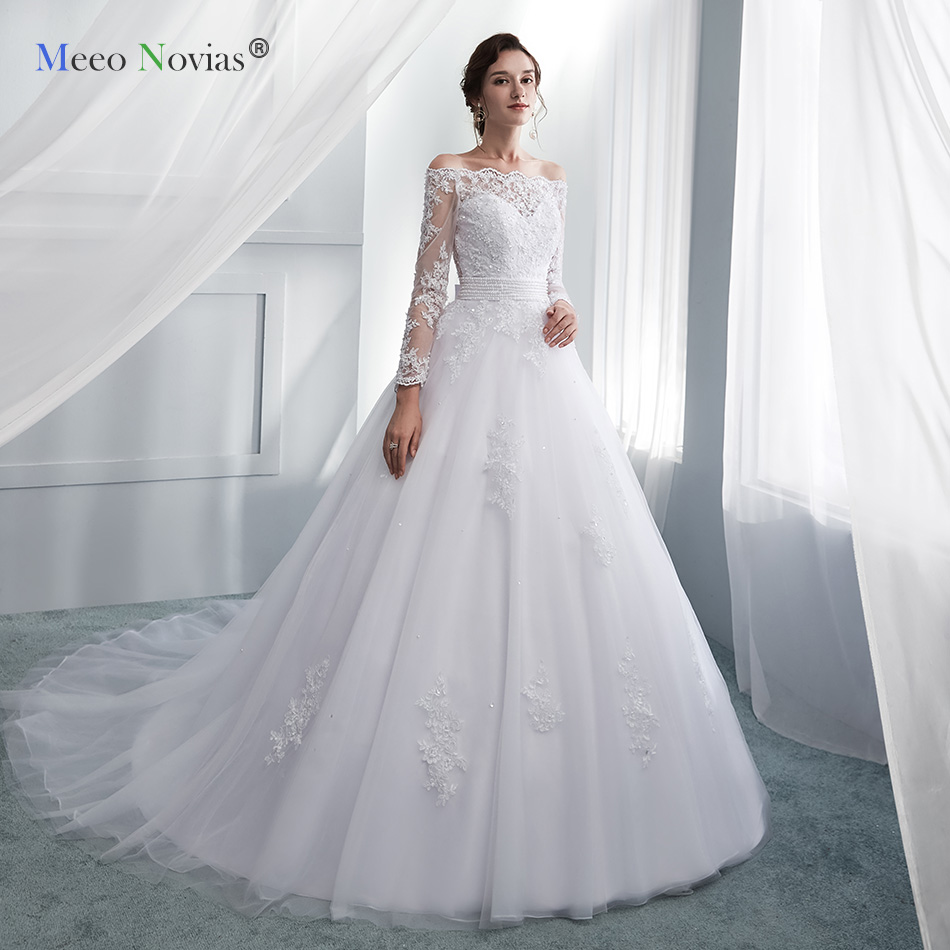 Meeo Novias White Lace Appliques Ball Gown Vintage Wedding Dresses Off The Shoulder Boat Neck Bridal