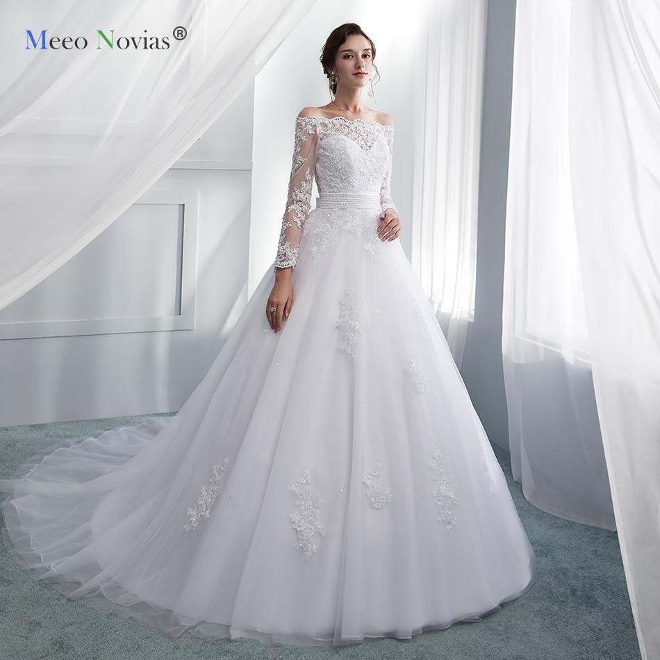 Meeo Novias White Lace Appliques Ball Gown Vintage Wedding Dresses Off The Shoulder Boat Neck Bridal