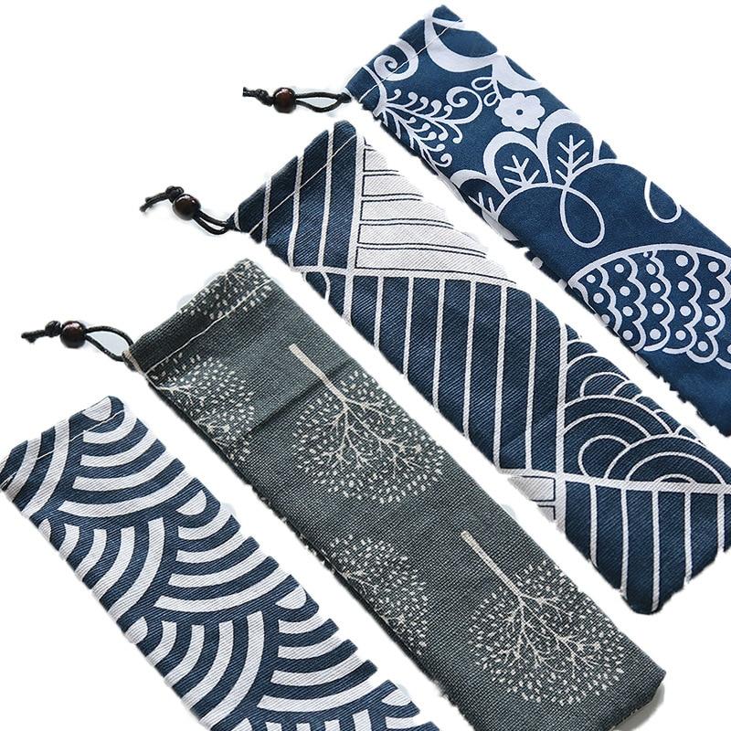 UPORS 100 pz/set di Paglia Borsa Da Viaggio Portatile di Borsa di Tela Eco-Friendly Paglia Del Sacchetto Custodia per il trasporto per la Paglia di Paglia Posate Forchetta cucchiaio