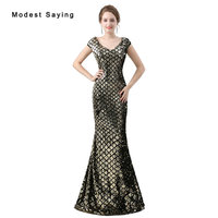 Elegant Black and Champagne Sequined Evening Dresses 2018 Sheer Back Evening Gowns Long Party Prom Gowns New vestido de festa