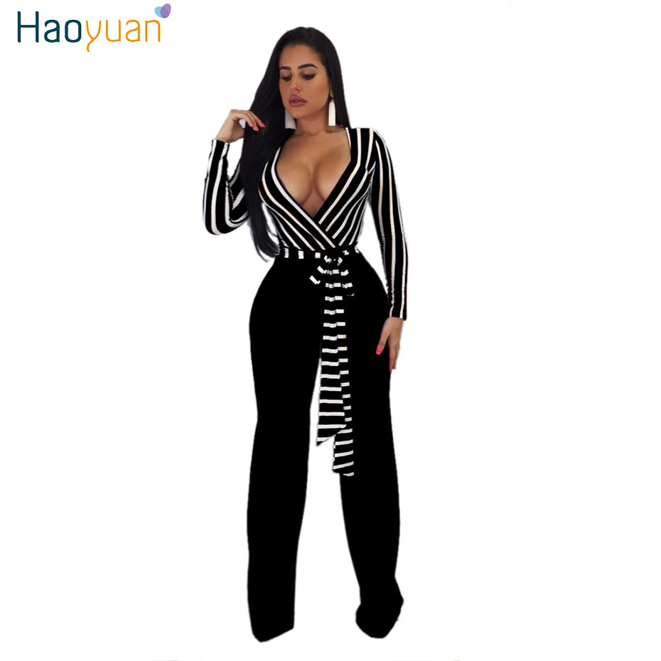 HAOYUAN Sexy Long Sleeve   Jumpsuit   Autumn Striped Bandage Overalls Wide Leg Bodysuit One Piece Elegant Rompers Womens   Jumpsuit
