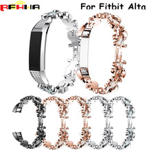 купить High quality Watchband Genuine Stainless Steel Watch Bracelet Band Strap For Fitbit Alta Watch band with Rhinestones Newest по цене 623.96 рублей