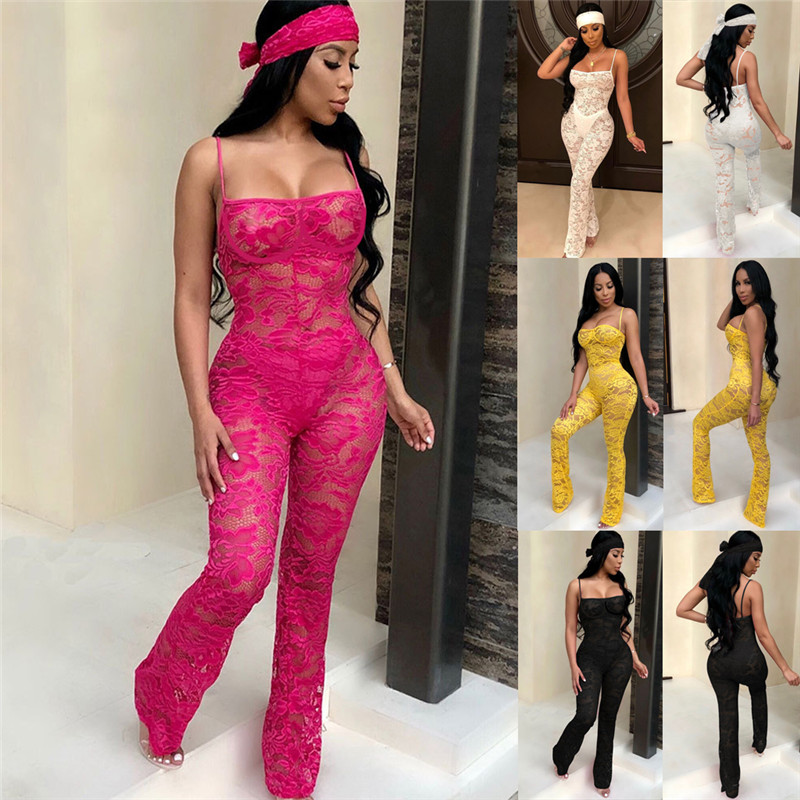 2019 Women Ladies Clubwear Lace Bodycon Party Romper Trousers Slim Tank Top Playsuits   Jumpsuits   Bodycon Elastic Overalls