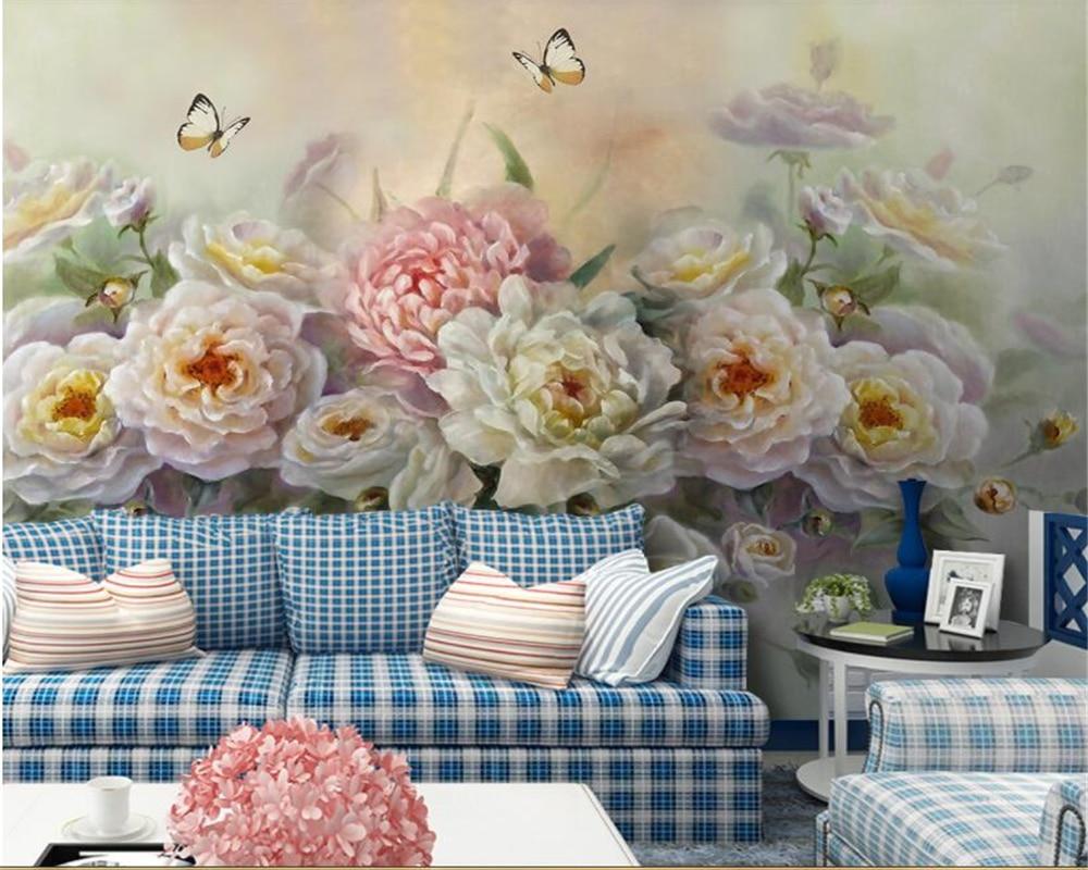 beibehang Custom photo wallpaper mural European hand painted rose flower butterfly TV sofa background wall 3d wallpaper behang in Wallpapers from Home Improvement