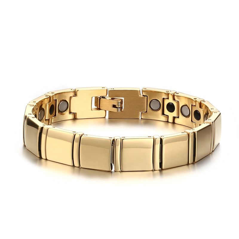 Mens Health Energy Bio Magnetic Negative Ion Germanium Bracelet Mens Gold Color Stainless Steel Bracelets Fashion Gift With Box