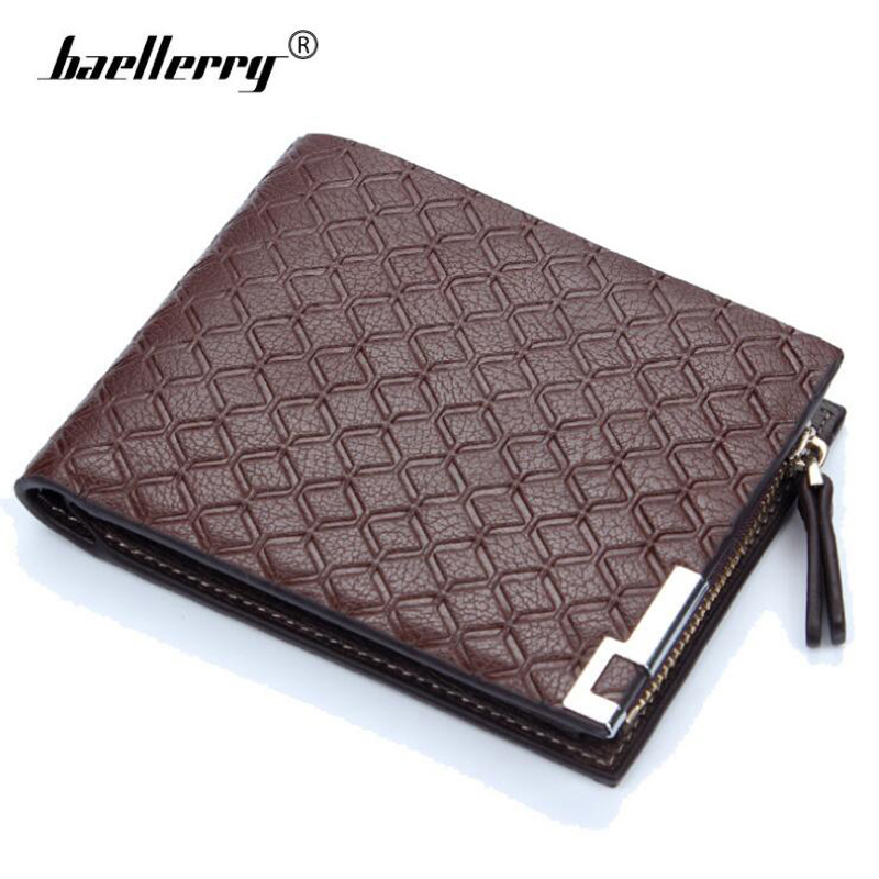 Vintage Plaid Leather Short Wallet for Men Business Trifold Cards Photo Holder Zipper Coin Bag Money Purse Male Small Carteira