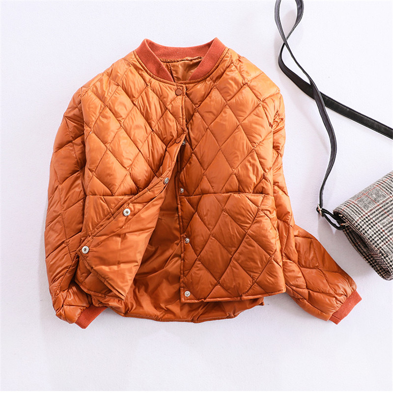 2018 Spring Autumn   Down   Jacket Women Ultra Light White Duck   Down     Coat   Parkas Female Thin Short   Coats   Outwears Plus Size AB1007