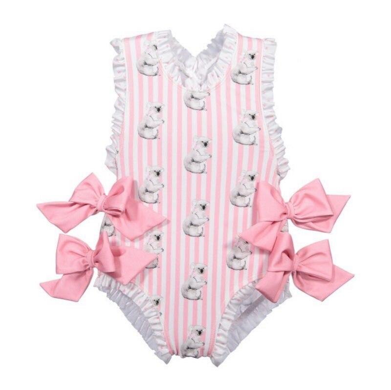 Image 5 - Retail Baby Girls Beautiful Swimming Wear Suits Lovely Flamingo Ice cream Bear Giraffe Swimsuits Child Fashion Swimwear E10002Clothing Sets   -