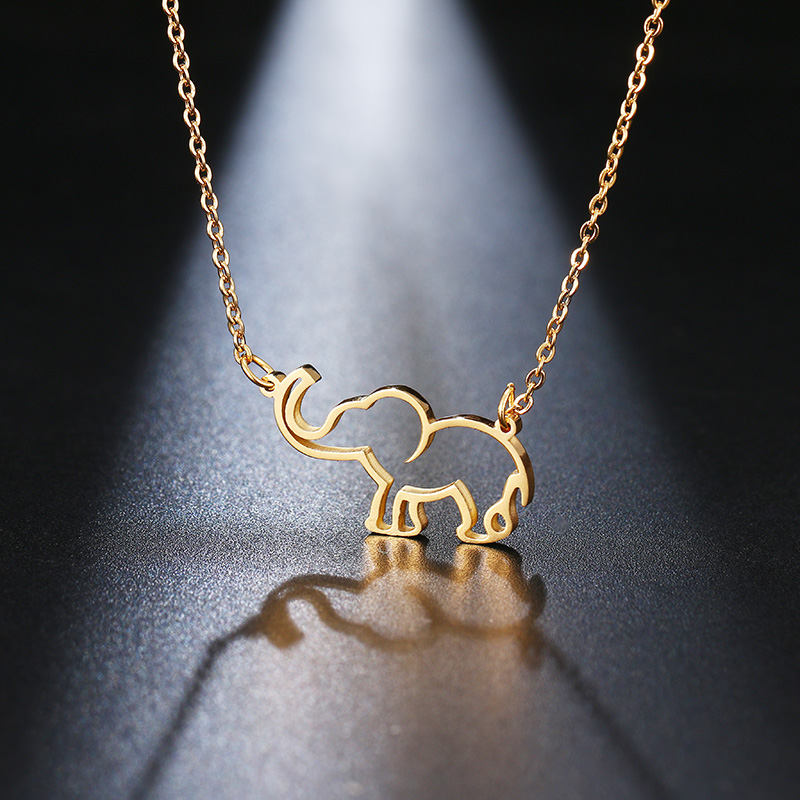 DOTIFI Stainless Steel Necklace For Women Lover's Origami Elephant Pendant Necklaces For Women Gothic Jewelry Collares De Moda 2