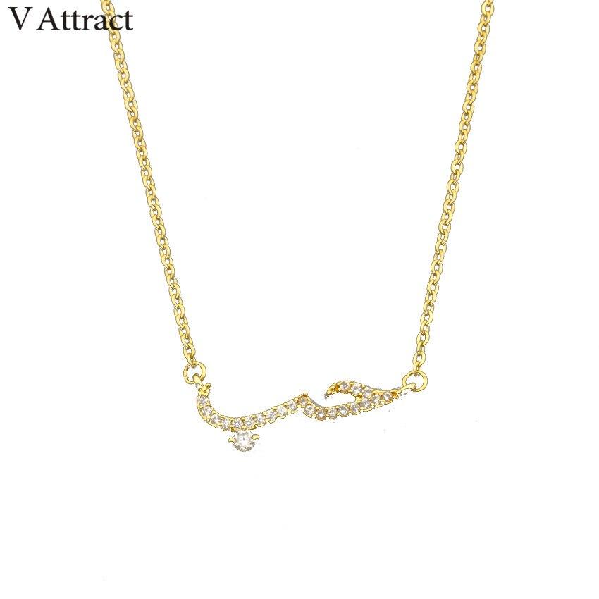 V Attract Friendship CZ Arabic Love Statement Pendant Necklace Women Men Vintage Jewelry Rose Gold Ketting ettingen Voor Vrouwen
