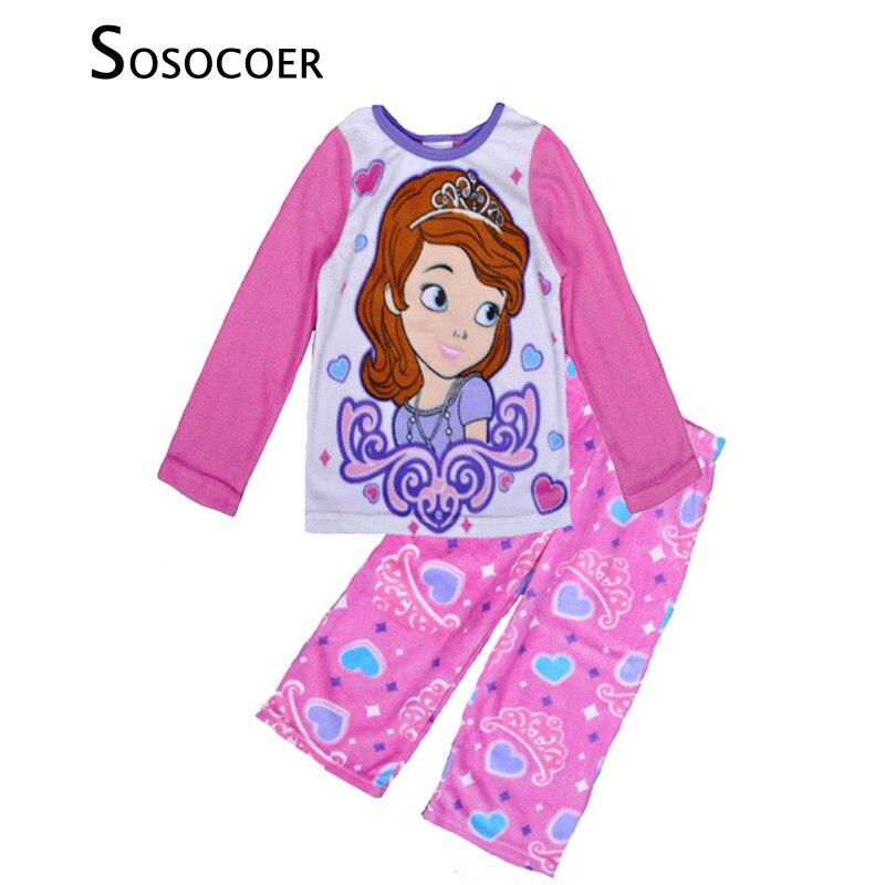 Sofia Girl Pyjamas Set Cartoon Sofia Princess Sleepwear 2017 Brand Kids Warm Pajamas Sets Cartoon Girls Winter Clothing vetement