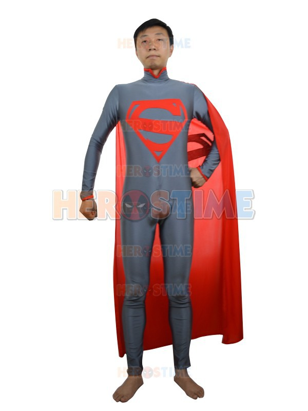 Gray & Red New Style Superman Costume Fullbody Spandex Superman Zentai Suit With Cape For Halloween And Cosplay Party