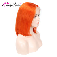 Pink Bob Lace Front Wigs Human Hair Pre Plucked Blue Red Grey Green Straight Ombre Short Bob Wigs For Black Women Remy Kiss Love