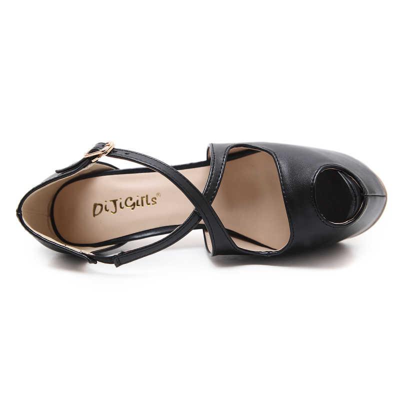 2019 Seksi yüksek topuklu ayakkabı 16 cm Kadın Pompaları Çapraz bağlı Toka Platformu Topuklu Bayan Gece Kulübü Açık Ağızlı Balık Ağzı stilettos