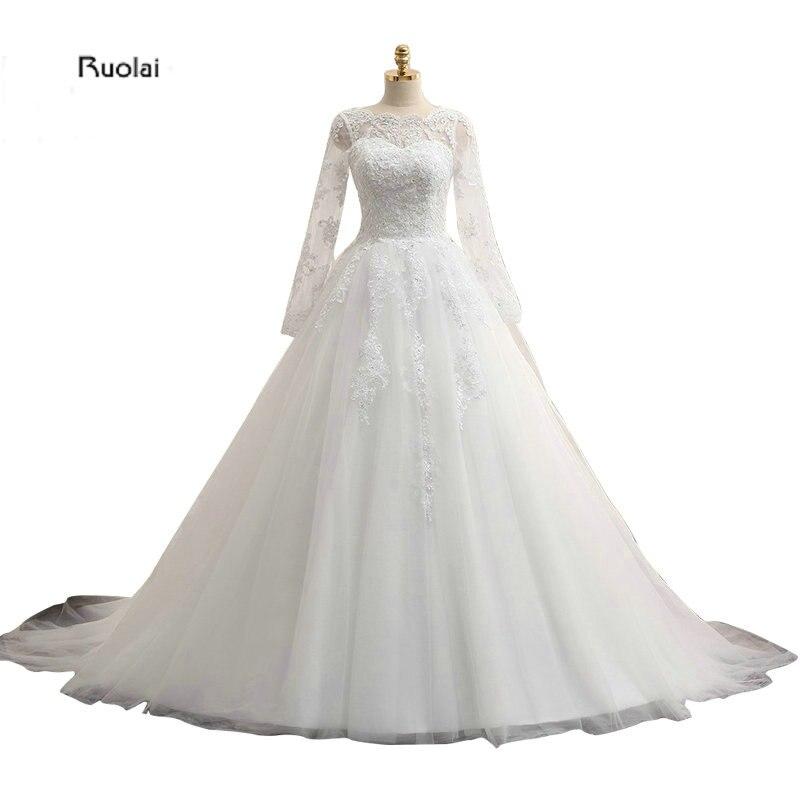 Sheer Lace Back Applique Long Sleeves Tulle Scoop Custom Made Formal font b Wedding b font