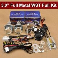 3 Inches Full Metal HID Bi Xenon Projector Lens Kit 35W 12V H1 xenon lamp Slim Xenon Ballast Easy Install Car Headlight H4 H7