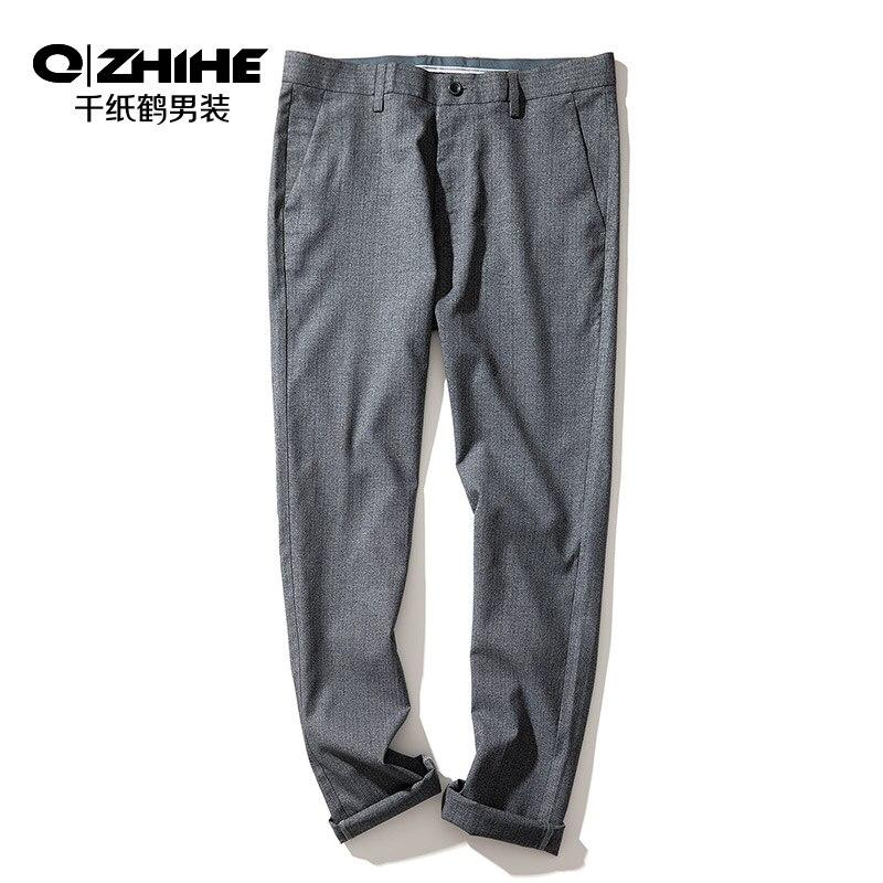 QZHIHE Men's Cotton Straight Slim Suit Pants Adult Male Mid Waist Elastic Trousers Office Wear Ankle-length Pants 70128 11