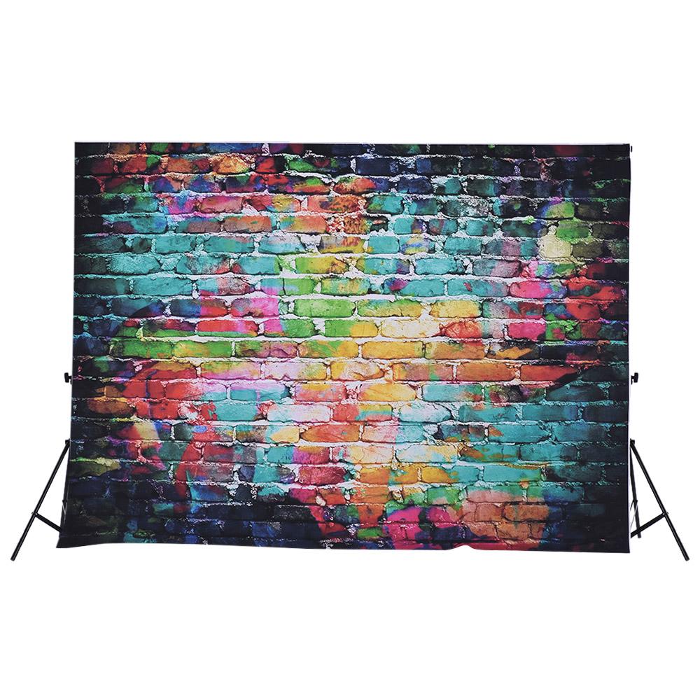 Prix pour 1.5*2.1 m Photographie Toile de Fond Numérique Imprimé Coloré Doodle Scribble Brique Mur Motif Fond pour Enfant Enfants Nouveau-Né