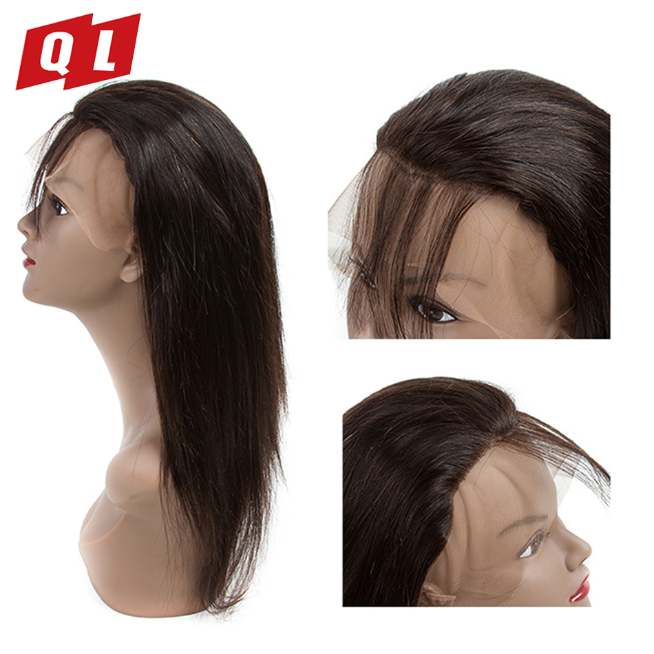 QLOVE HAIR Peruvian Straight 3 Bundles With 360 Lace Frontal Natural Color Human Hair Weave Bundles Non Remy Hair Frontal-in 3/4 Bundles with Closure from Hair Extensions & Wigs    2
