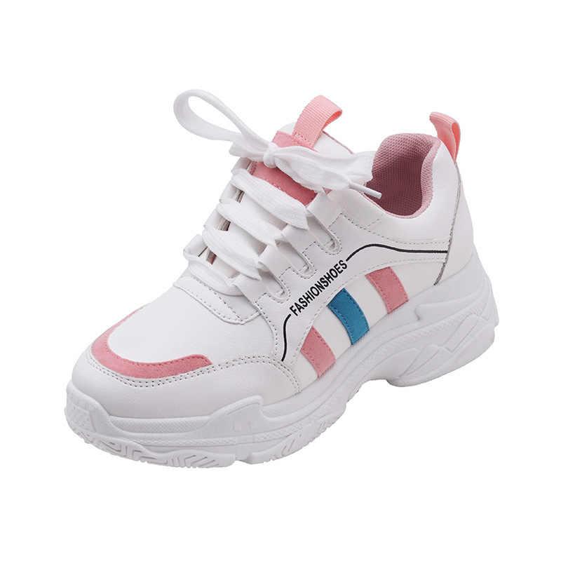 2019 החדש Vintage נשים אופנתי נעלי ספורט פנאי פלטפורמת נעלי צלב-קשור לנשימה ספורט נעלי אישה Zapatillas Muje C8189