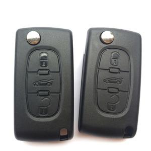 Image 2 - 3 زر سيارة مفتاح بعيد قذيفة فوب لبيجو 406 407 308 408 307 شريك فليب غطاء مفتاح قابل للطيّ غطاء CE0536 HU83/VA2 شفرة