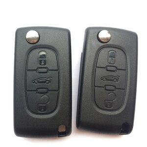 Image 2 - Carcasa de la llave a distancia del coche, 3 botones, para PEUGEOT 406, 407, 308, 408, 307, funda plegable con tapa, CE0536, HU83/VA2 Blade