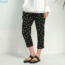 100% linen clothing Original design women's  spring and summer slim linen polka dot elastic waist straight pants LinenAll Sishan