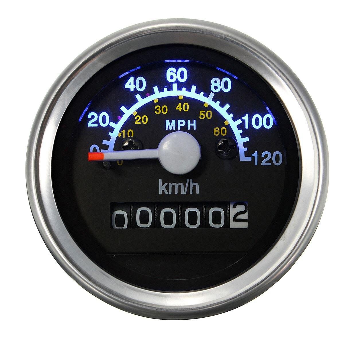 Universal 12 v Motocicleta Velocímetro Odômetro Calibre 52mm MPH KMH LED Backlight Preto