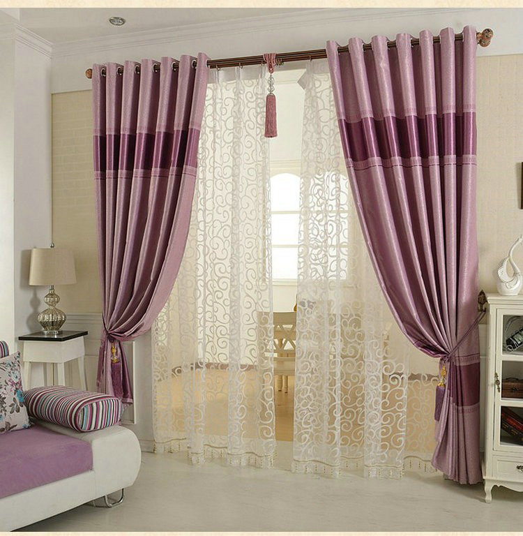 Blackout Luxury Pattern Curtains For Living Room Bedroom Tulle Thick Curtains Ready Made Purple
