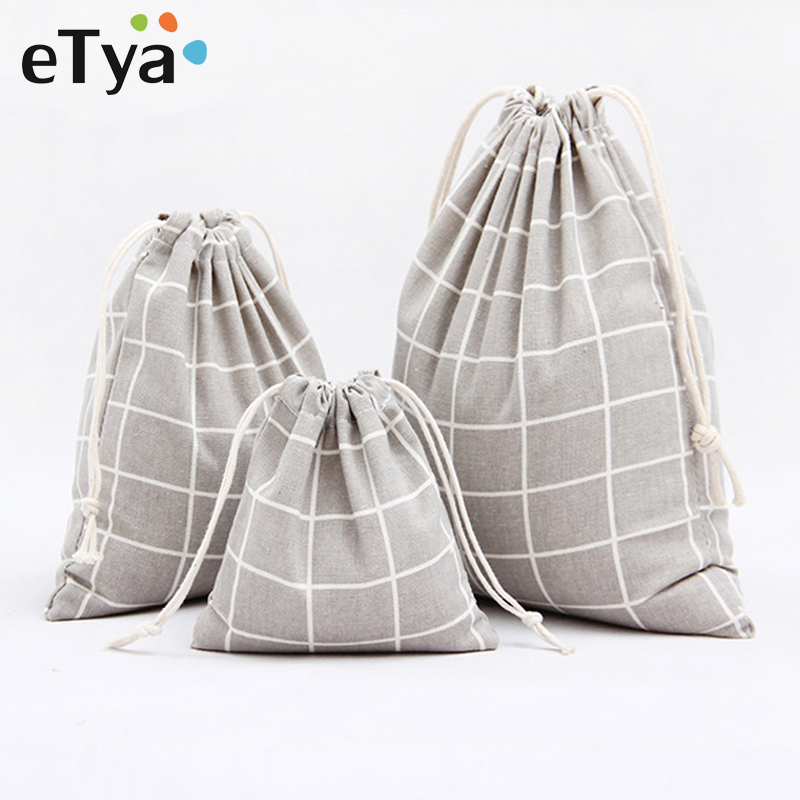 ETya Plaid Cotton Drawstring Bag Men Women Travel Organizer Clothe Shoes Packing Pouch Home Storage Shopping Bag Tote Set Hot