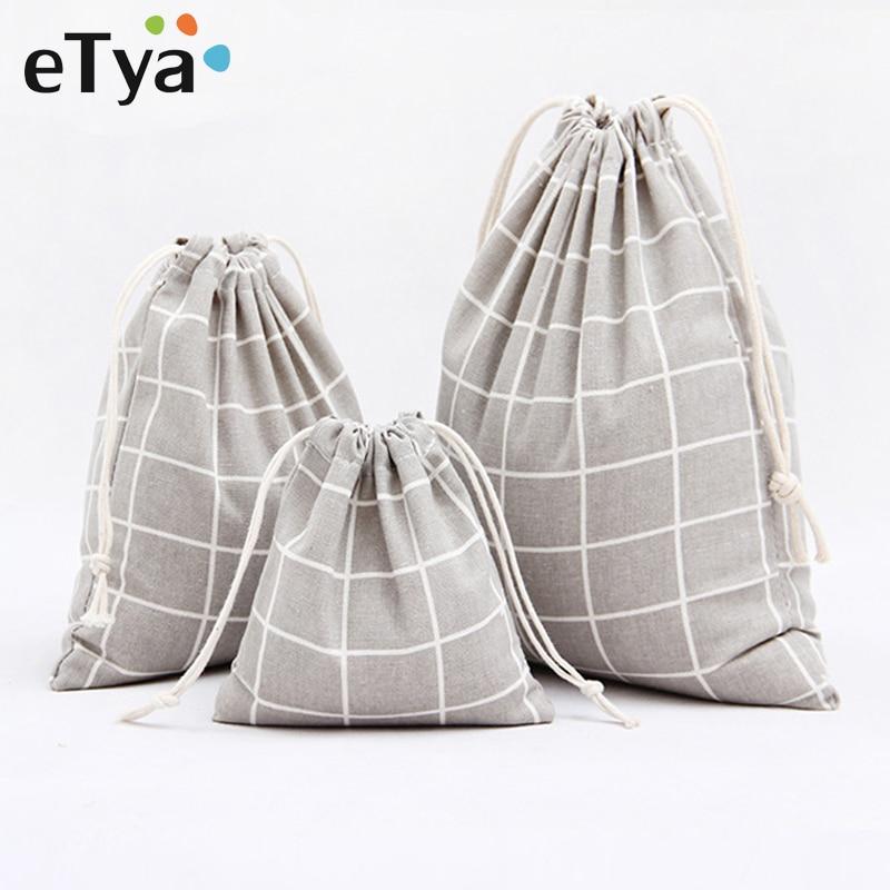 ETya Plaid Cotton Drawstring Bag Men Women Travel Organizer Clothe Shoes Packing Pouch Home Storage Shopping Bag Tote Set Hot