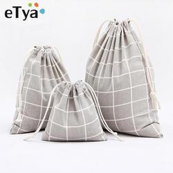 ETya хлопковая клетчатая сумка на шнурке Женская дорожная сумка-Органайзер косметический посылка сумка для домашнего хранения посылка