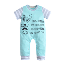 2017 Fashion Summer Baby Bodysuits Boy Clothing Blue cartoon Short Sleeve Newborn Cotton Girl Jumpsuit